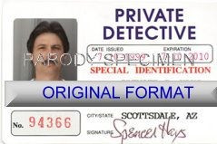 private detective identity, new identity, novelty id new id for privcacy detective novelty id card designs